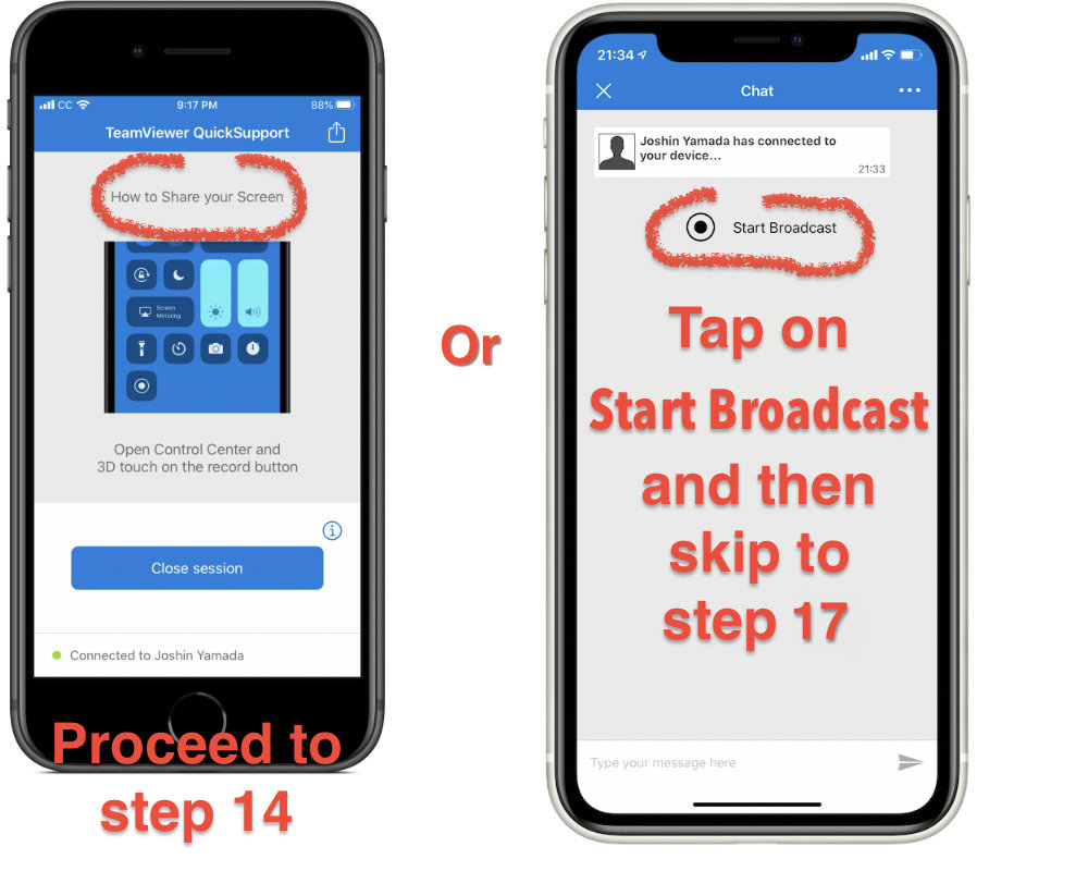 If you see the instructions on how to start screen sharing, go to the next step but if you see a simple start broadcast button, tap Start Broadcast and skip to step 17