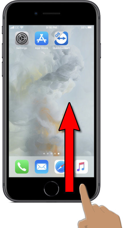 Image of an iPhone with TouchID and a finger poised to drag up