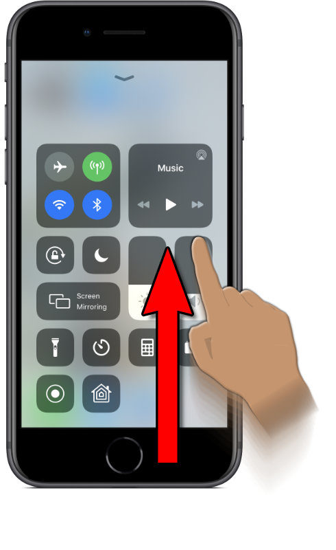 Image of an iPhone with Control Center open after dragging your finger up from the bottom edge of the screen