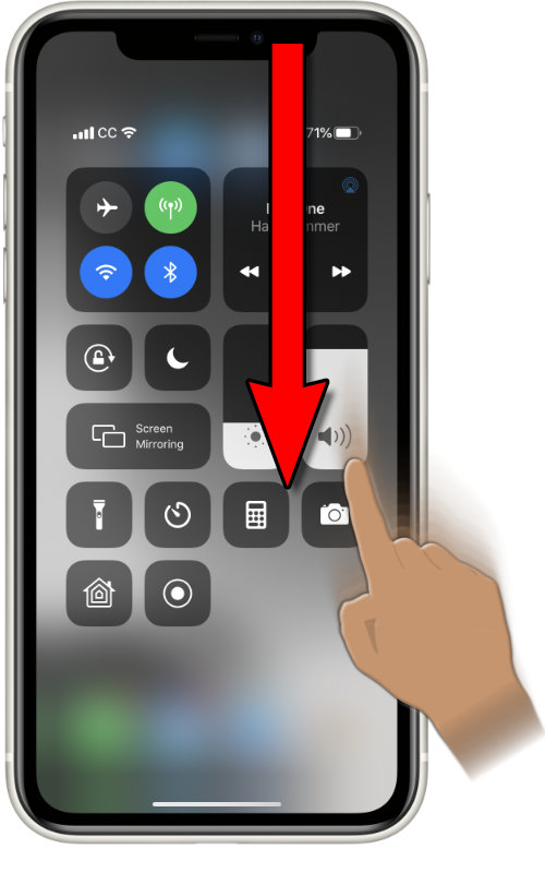 Image of an iPhone X with Control Center open after dragging a finger downwards from the upper right corner