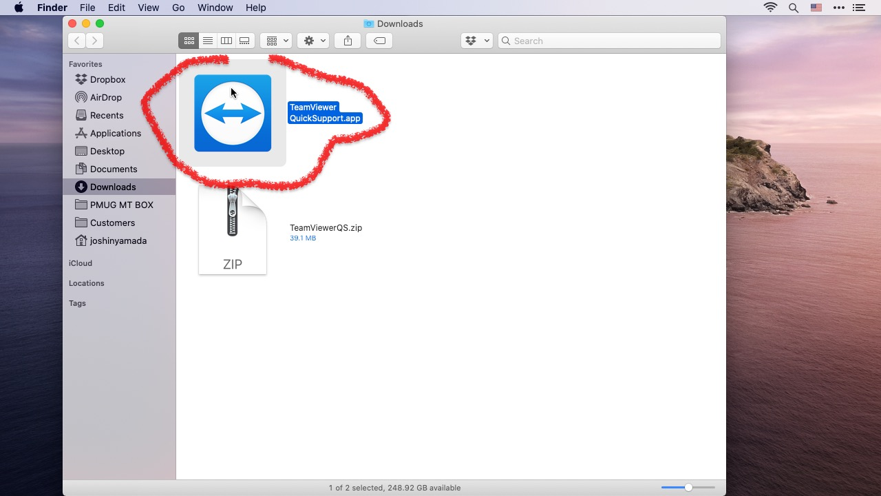 Single click on the TeamViewereQuickSupport.app file to select it