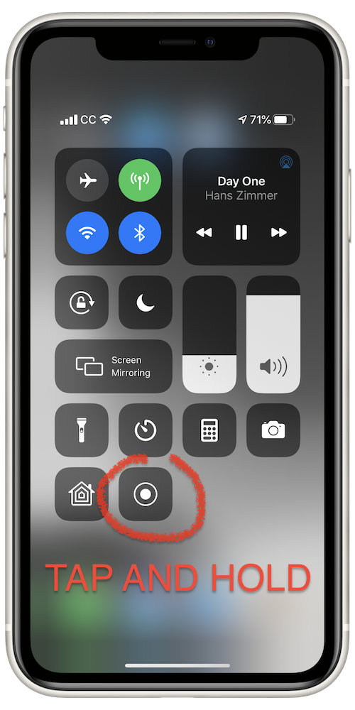 The Screen Recording button in Control Center looks like a target symbol