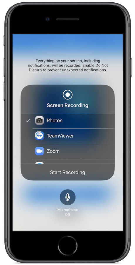 The screen recording options page in Control Center