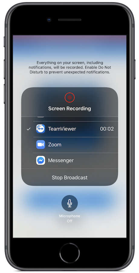 The final step to staring Screen Broadcasting on an iOS device