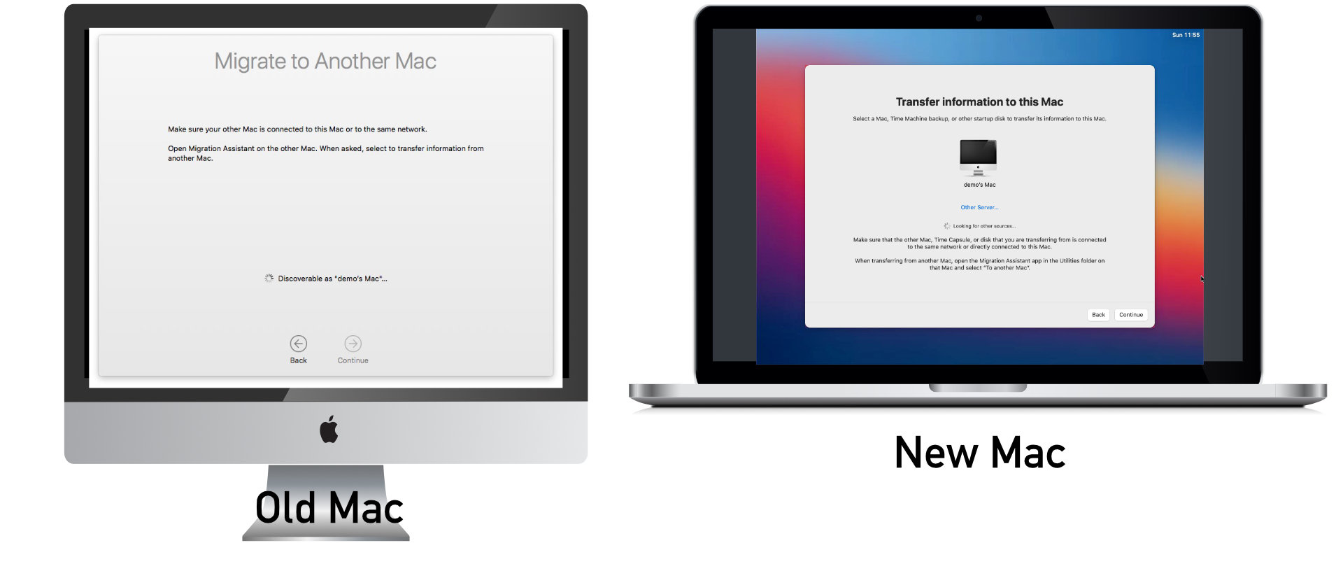 The new computer will now start looking for other Macs to migrate from.