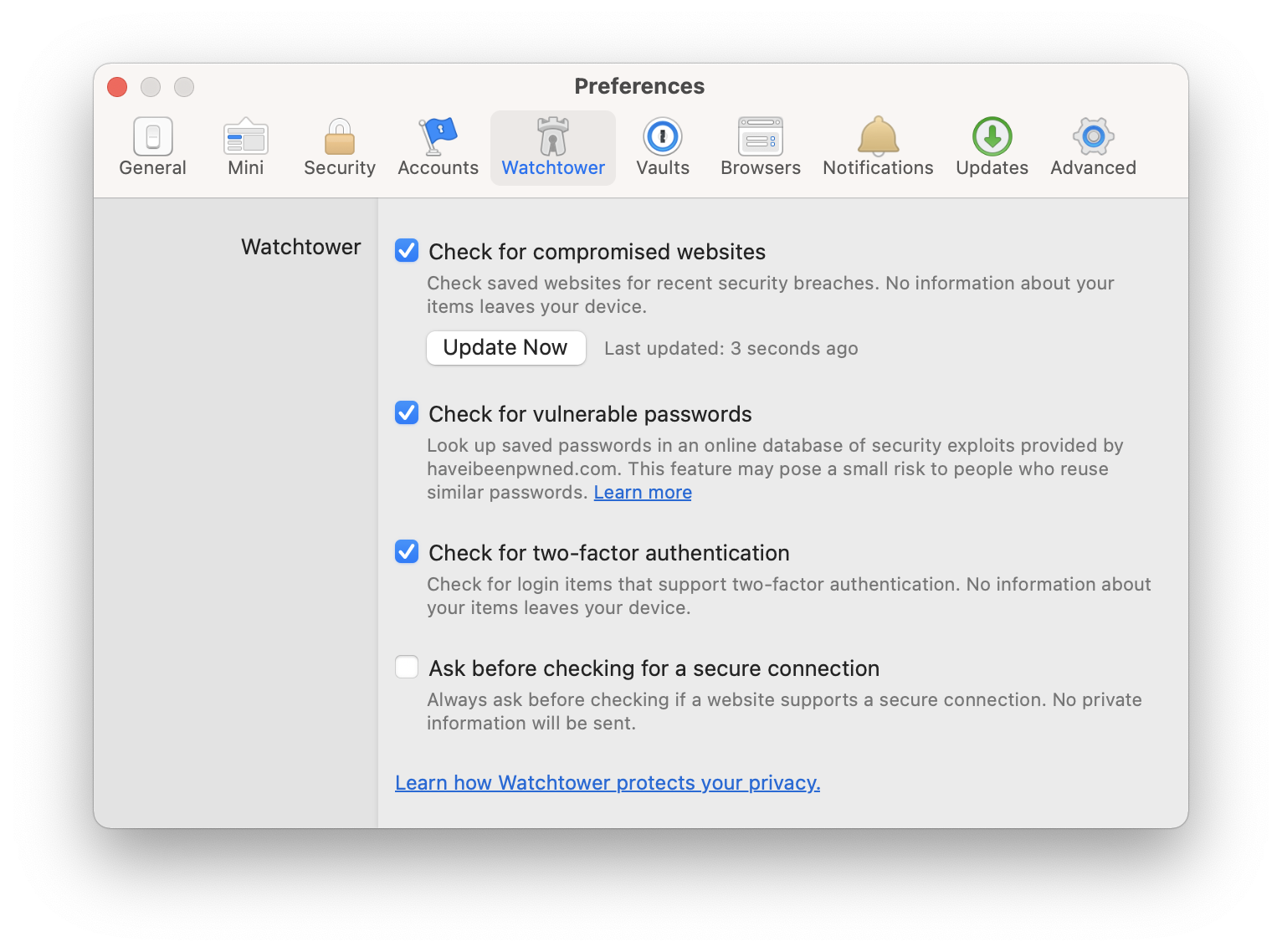 Screenshot of the Watchtower preferences with first three items checked.